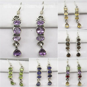 925-Pure-Silver-Real-Stones-LONG-Earrings-Handcrafted-Engagement-Jewelry-NEW