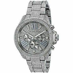 3a60c62c6a71 Women s Michael Kors Wren Steel Silver Crystalized Chronograph Watch MK6317