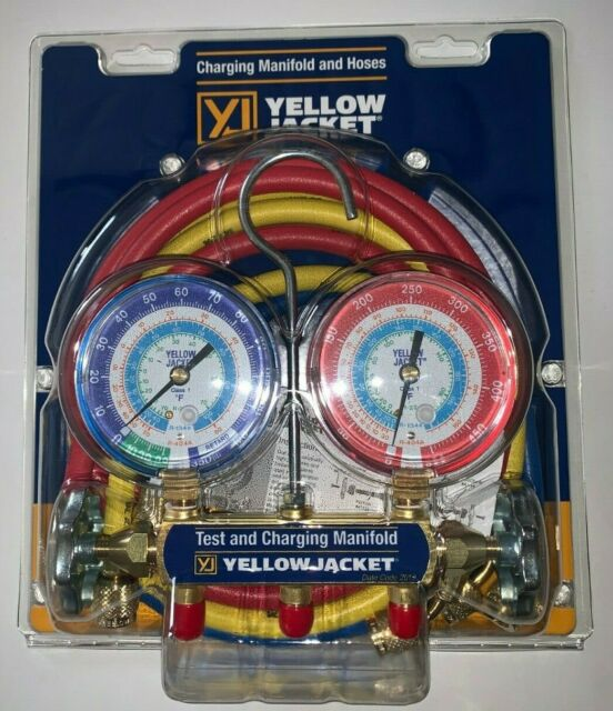 Yellow Jacket 42006 Series 41 Manifold with 3-1//8 Gauge R-22//134A//404A psi