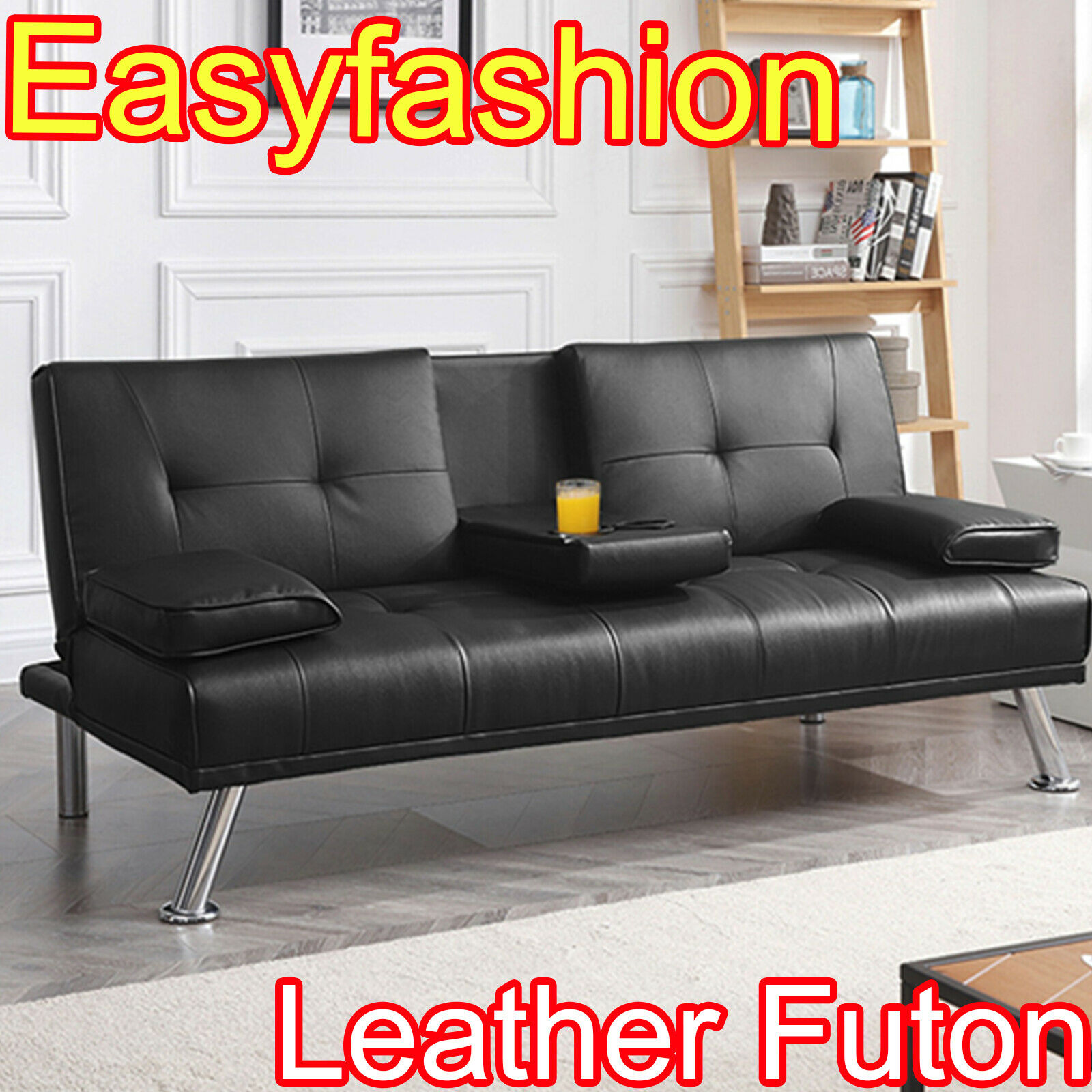- Modern Faux Leather Futon Sofa Fold Up And Down Recliner Couch