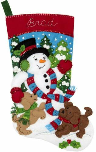 Bucilla Snowman and Puppies Dog Puppy Snow Christmas Felt Stocking Kit 86900E