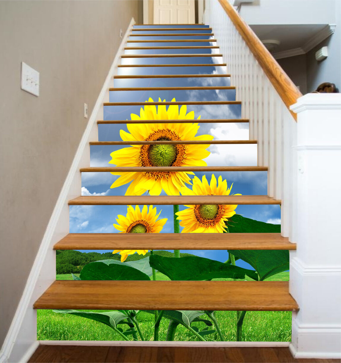 3D Lawn Sunflowers Stair Risers Decoration Photo Mural Vinyl Decal WandPapier AU