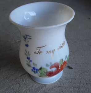Antique-1880s-Blown-Opaque-White-Glass-Sister-Painted-Handled-Mug-Look