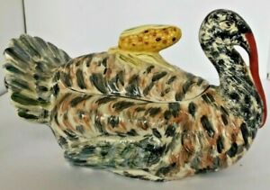 Vintage 1969 Realistic Turkey Ceramic Hand Painted Covered Serving Dish Flawless