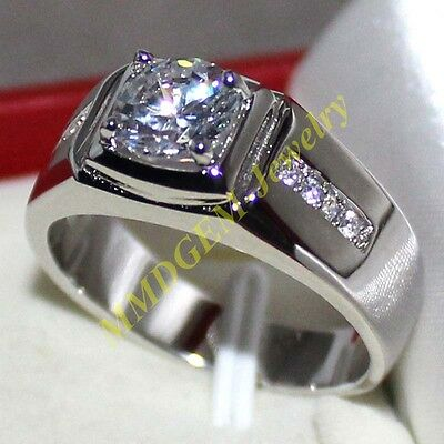 7*7mm Solitaire White Sapphire Mens Silver Engagement Wedding Unique Band Ring