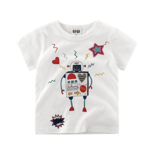 Children Droid Printed Tops Girls Tee Short Sleeve Boys Youth T Shirt White