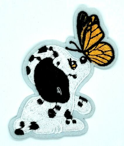 Dalmatian Puppy Butterfly  Dog Pets  Iron on Applique Embroidered  358