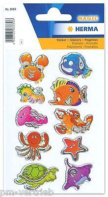 Sticker Schmucketiketten Sea life, Prismaticfolie HERMA Magic 3669