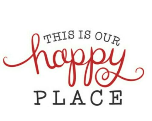 This is our happy place cups walls windows wood  vinyl decal sticker p12eh