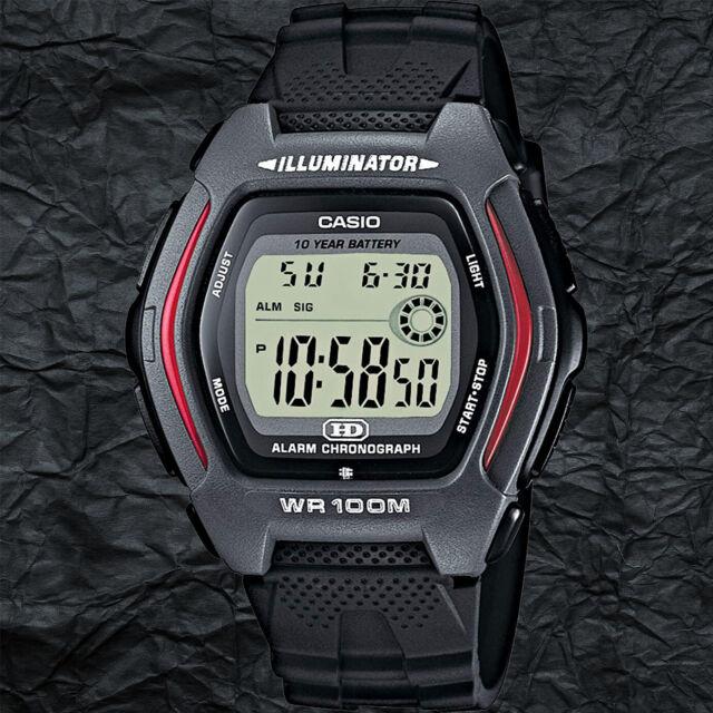 Casio HDD-600-1A Men's Black Digital Sport Watch 100M WR 10 Year Battery Red New