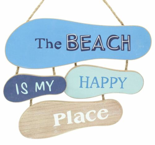 Footprints In The Sand Wooden Hanging Plaque Nautical Flip Flop Sign