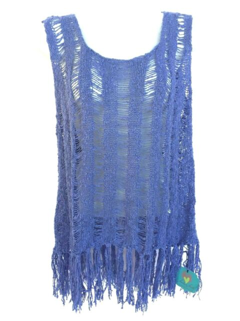 d4f842e1948a7 Fair Trade Blue Top Fringes Hands To Hearts Knit Crochet Boho Hippie Size M