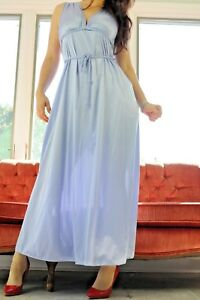 VTG Vanity Fair Blue Satin Nylon Low Cut Long Sweeping Fancy ... d1de9aeb2
