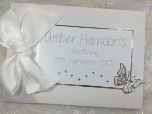 PERSONALISED CHRISTENING BAPTISM BABY HANDMADE GUEST BOOK DIAMANTE BUTTERFLY
