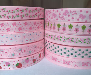 22-25mm-Pink-Printed-Flower-Grosgrain-Ribbon-for-Hand-Making-Hair-Bow-Diy-Craft