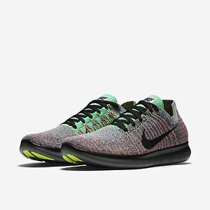 e0d8ed51a470 Nike Men s Free RN Flyknit Running Black Total Crimson 831069-108 Sz ...