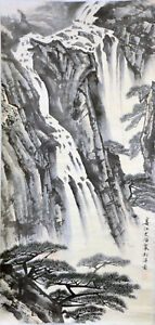 Vintage-Chinese-Watercolor-CLIFF-WATERFALL-Wall-Hanging-Scroll-Painting-w-MARK
