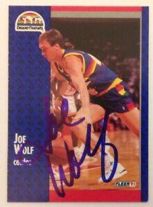 Joe Wolf 1991 Fleer Hand Signed Card Denver Nuggets