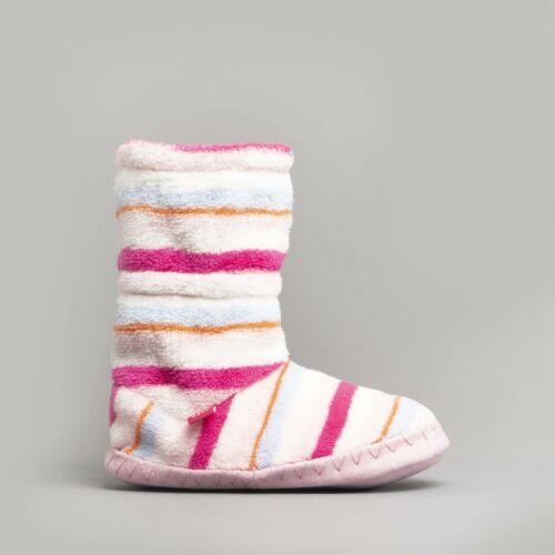 Joules PADABOUT Girls Cosy Warm Lined Fleece Slippersocks Pink Multi Stripe