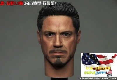 "1//6 Iron Man Tony Stark Head Sculpt For 12/"" Hot Toys Male Figure Coomodel ❶USA❶"