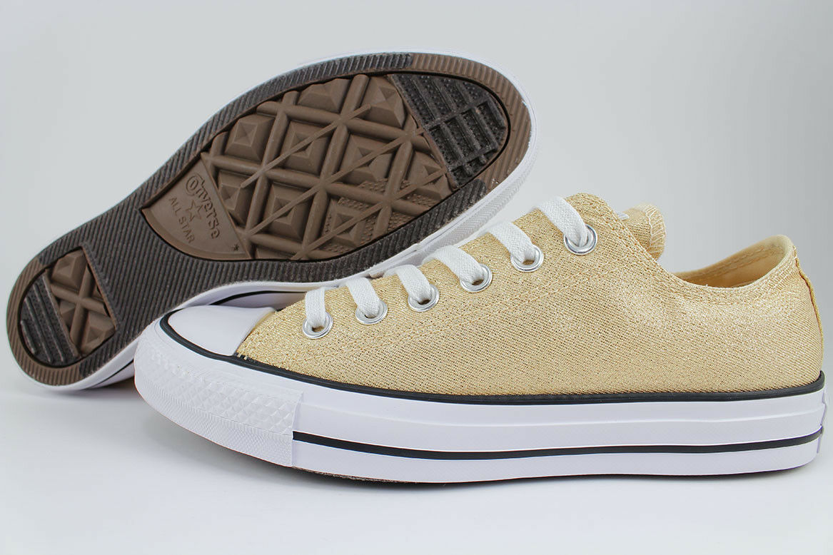 CONVERSE ALL STAR CHUCK TAYLOR GLITTER OX LIGHT TWINE gold WHITE SPARKLE WOMENS