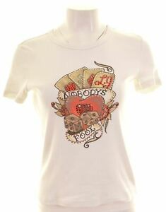 LIU-JO-Womens-Graphic-T-Shirt-Top-Size-14-Large-White-Cotton-Slim-Fit-CP09