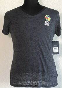 NWT-Asics-Gray-Smoke-Women-039-s-V-Neck-Volleyball-T-Shirt-Top-Size-Large