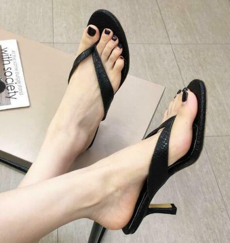 Women Kitten Heel Sandals Slippers Flip Flops Casual Shoes Summer Beach US 4.5-9