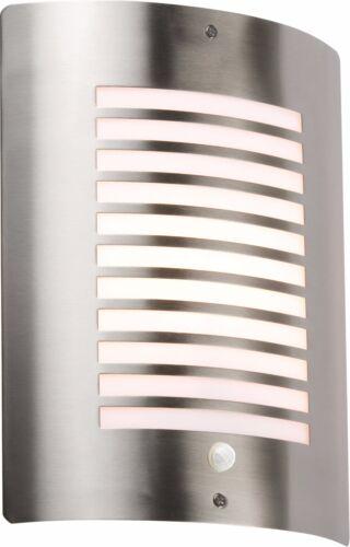 Knightsbridge All/'aperto Luce Muro raccordo dispositivo PIR Sensore Lampada in Acciaio Inox