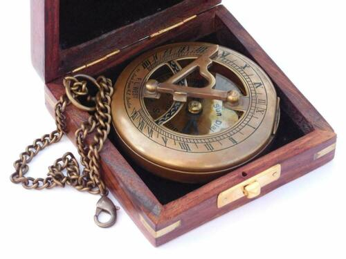 Handmade Antiquated Nautical Brass Sundial Compass with Chain//Wooden Case