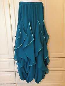 TURQUOISE-GREEN-ENDLESS-WAVE-HAREM-PANTS-CHIFFON-SEQUINS-for-BELLY-DANCE