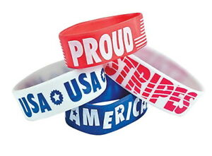 12-USA-America-Proud-Rubber-Bracelets-July-4th-Red-White-Blue-Patriotic-Girl