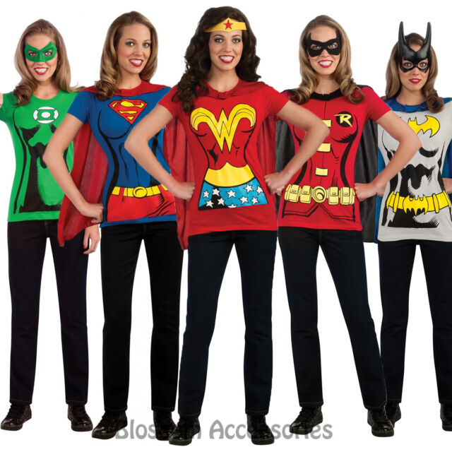 c19188c9e86 C956 Superhero T-Shirt Women Costume Wonder Woman Robin Supergirl Batgirl    Cape