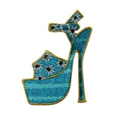 ID 7366 Yellow Flower High Heel Shoe Patch Fashion Embroidered Iron On Applique