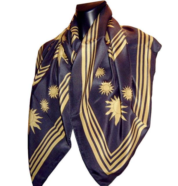 Tuch Gold Seidentuch sanft Glanz Halstuch 90x90cm Seide Schal Tuch Damen bunt