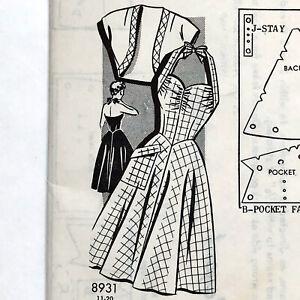 Vintage 1940s Sue Burnett SEW-RITE 1st Prize Sewing Pattern HALTER SUNDRESS 14