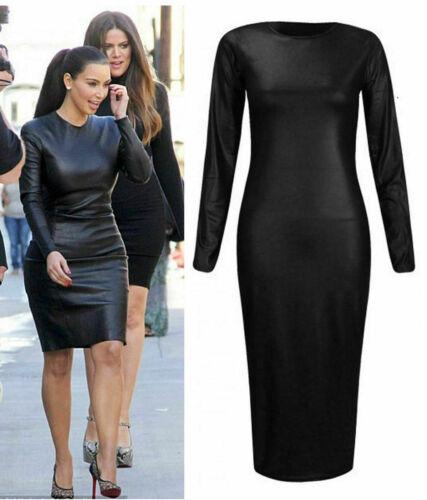 Ladies KIM Wet Look Midi Womens Faux Leather Stretch Bodycon Dress  8-26