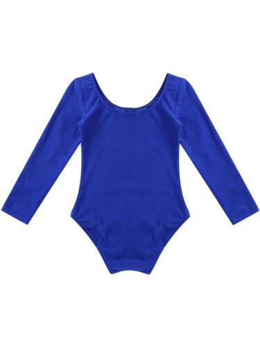 Child Girls Gymastics Leotard Dress Long Sleeve Dance Ballet Bodysuit Leotards