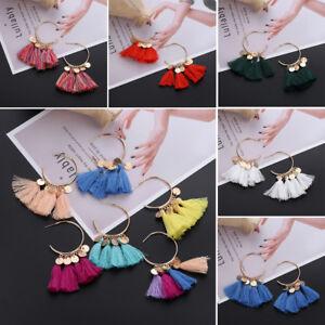 Hoop-Silk-Thread-Sector-Fringe-Cotton-Tassel-Long-Rope-Dangle-Drop-Earrings