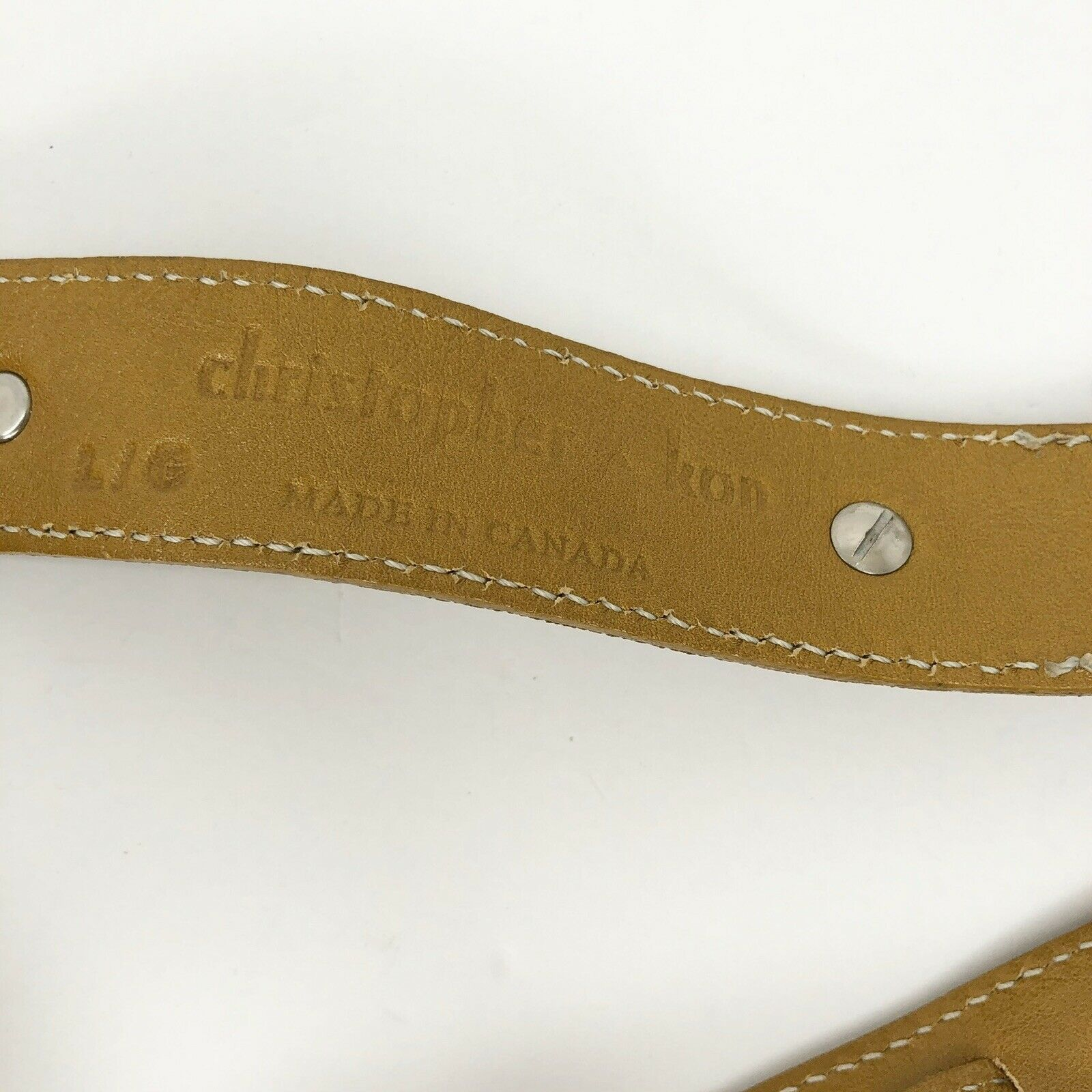 Christopher Kon Mustard Yellow leather belt size L Large popper clasp Canada