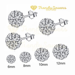 f5bfdd0f3 Women's 925 Sterling Silver Shiny Clear Crystal Ball Ear Stud ...