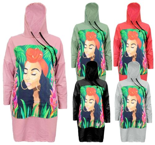 Womens Ladies Graphic Face Jungle Over sized Baggy Mamma Hooded Sweatshirt Top