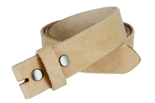Hand Made In USA Genuine Full Leather Belt Strap Natural UNISEX Belt Snap on
