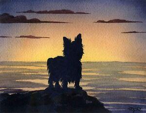YORKSHIRE-TERRIER-Dog-Watercolor-Sunset-8-x-10-Art-Print-Signed-by-Artist-DJR