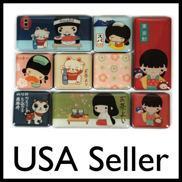 CUTE KOKESHI DOLL MAGNET SET Tiny Refrigerator Lucky Cat Japanese Kawaii NEW Toy