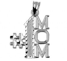 Mother's Day Gifts  925 Sterling Silver Number One #1 Mom Charm Pendant