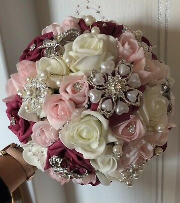 Bridal Posy Bouquet  baby pink//raspberry and Ivory Roses  with Brooches