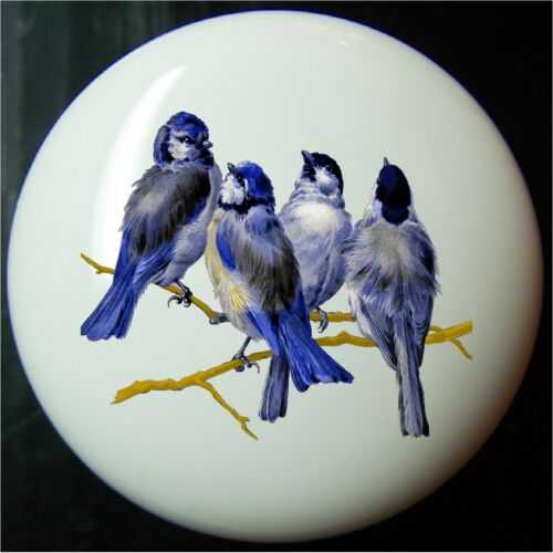 BLUE BIRDS ON A BRANCH   DECORATIVE  DRAWER AND CABINET KNOBS