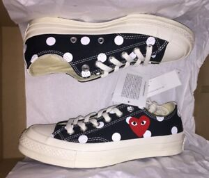 85dac7ec508f CONVERSE X COMME DES GARCONS PLAY Polka Dot CTAS 70 Low Black Size 3 ...