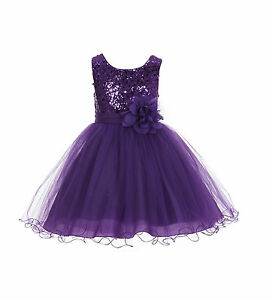 Wedding-Glitter-Sequin-Tulle-Flower-girl-Dress-Toddler-Bridesmaid-Easter-B-011NF